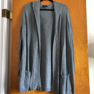Gap Outlet Long Hooded Cardigan Sweater in Gray